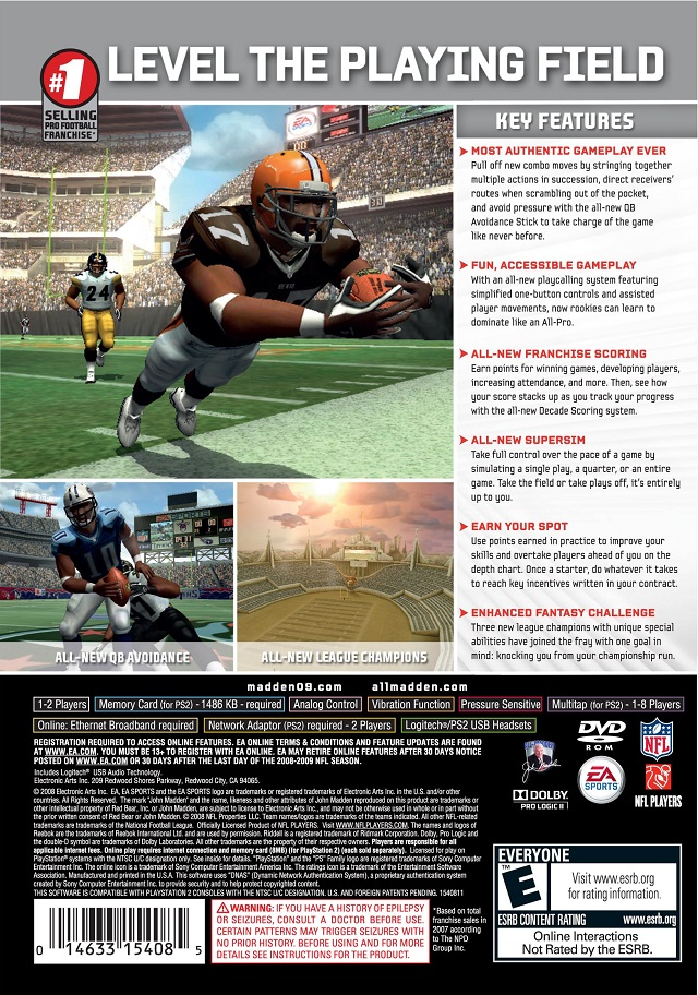 Madden 2009 Sony Playstation 2 Game