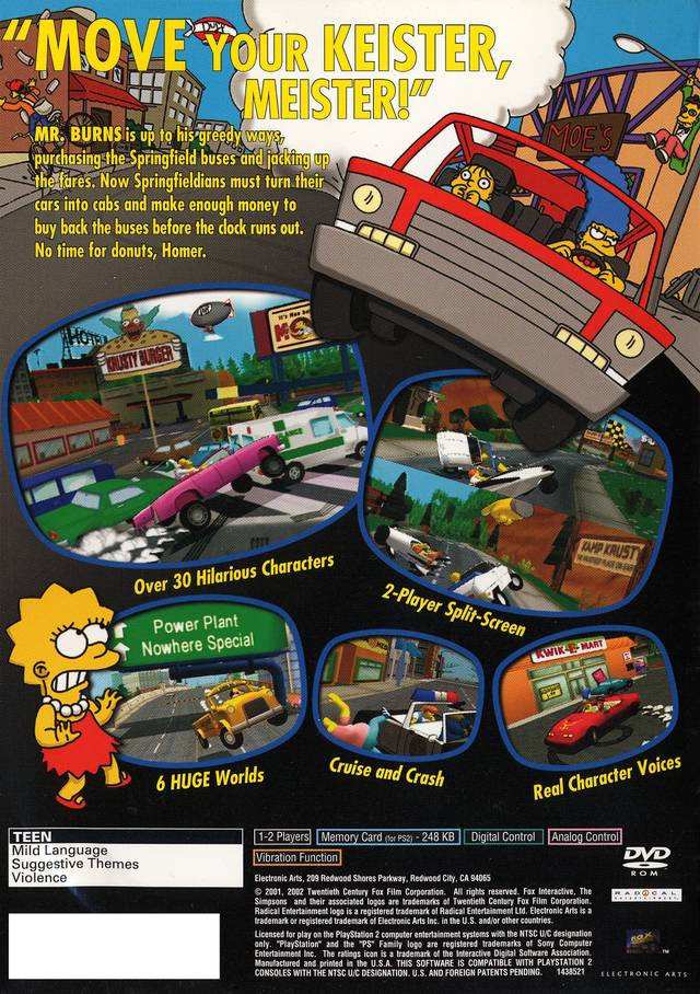 Simpsons Road Rage Sony Playstation 2 Game