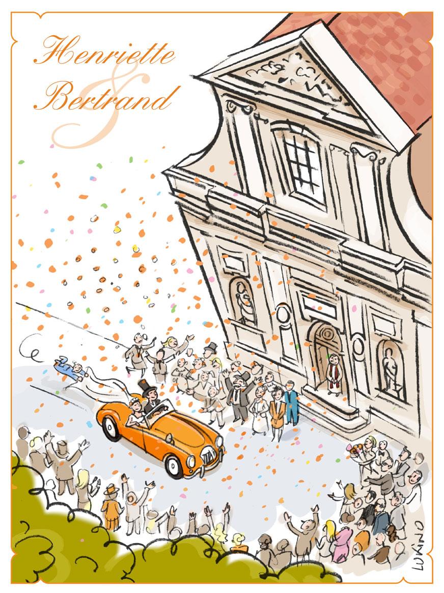 Henriette et Bertrand arrivent en coupé sport devant la Basilique Notre-Dame des Tables