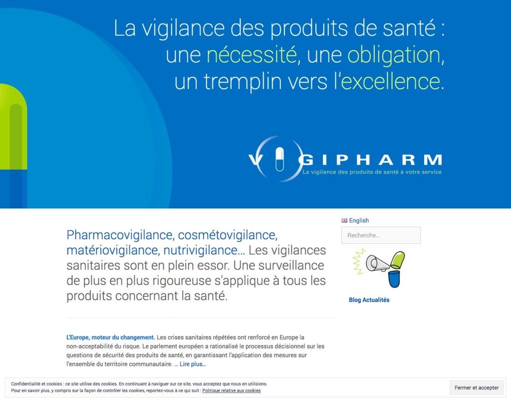 Page d'accueil du site Vigipharm