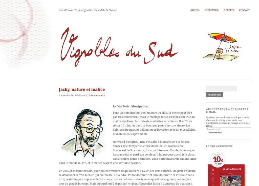 page d'accueil du site Vignobles du Sud