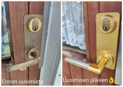 Hoppe Amsterdam 1400/42FI, F3/F69 kulta/rosteri painike vaihdettuna oveen