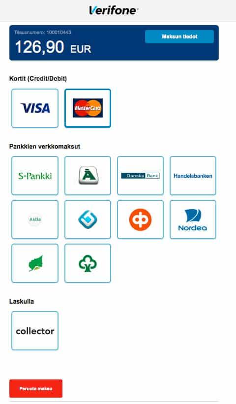 BlueCommercen maksutapojen näkymä