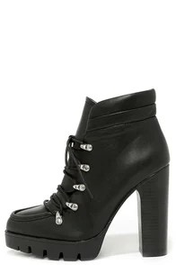 Report Signature Poe Black Lug Sole High Heel Boots