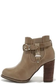 Buckle-ham Palace Taupe High Heel Booties