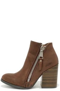 Block Pick Taupe Brown High Heel Booties