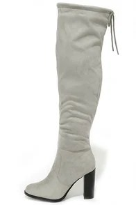 Up to the Challenge Light Grey Suede Over the Knee Boots
