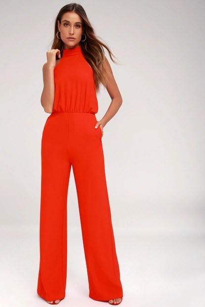 Moment for Life Red Halter Jumpsuit