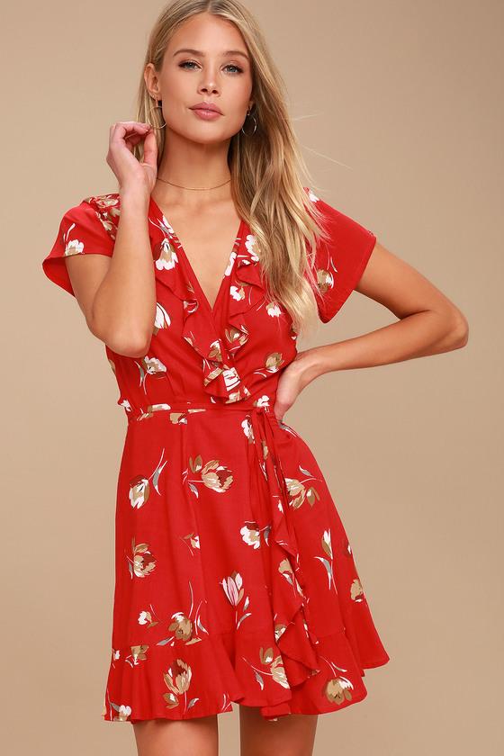KIVARI Romance Red Floral Print Dress Wrap Dress