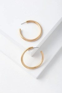 Chic Brushed Gold Hoop Earrings - Gold Earrings - Gold Hoops