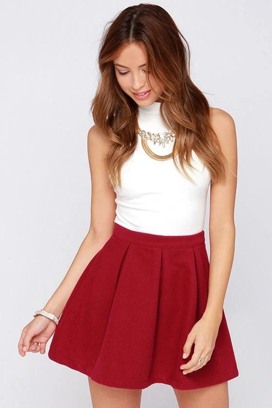 Cute Wine Red Skirt Mini Skirt Pleated Skirt 4500