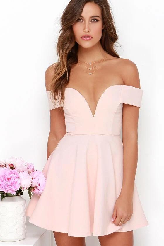 Cute Off The Shoulder Dress Light Pink Dress Skater