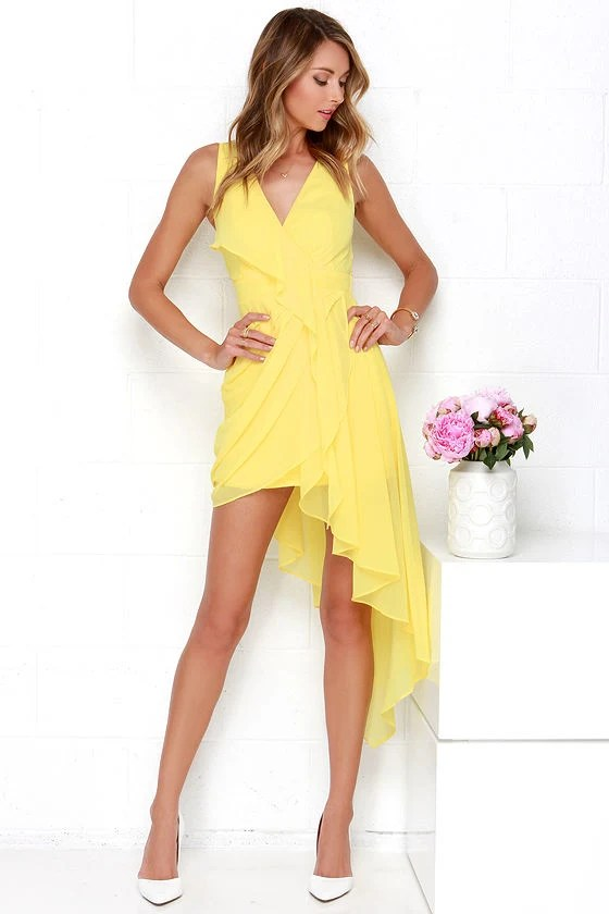 Lovely Yellow Dress  Wrap Dress  HighLow Dress  4800