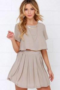 Cute Beige Dress - Two-Piece Dress - Skater Skirt - $62.00