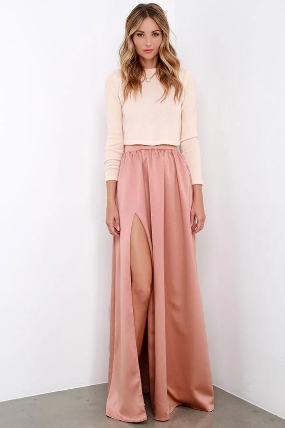 Beautiful Blush Skirt  Maxi Skirt  Slit Skirt  6200