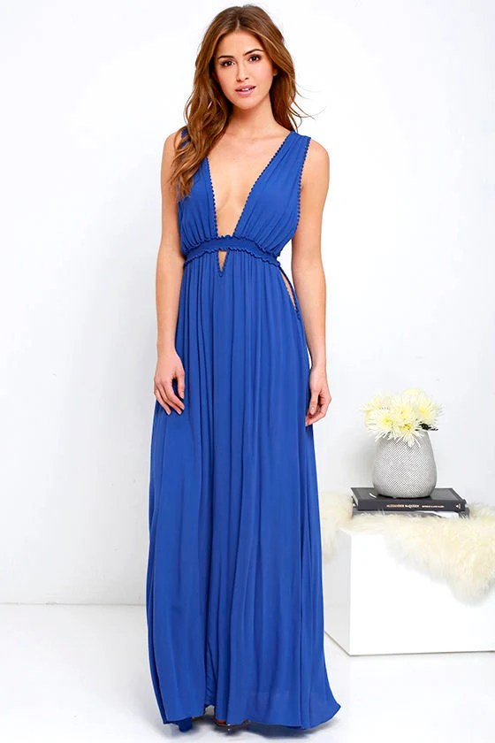 Maxi Dress  Royal Blue Dress  Sleeveless Dress  7600