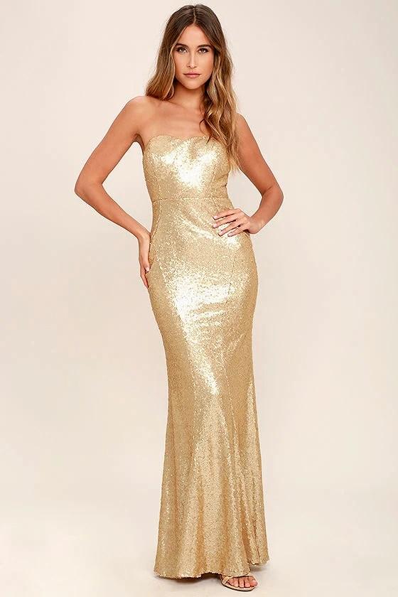 Stunning Gold Sequin Dress Strapless Dress Maxi Dress