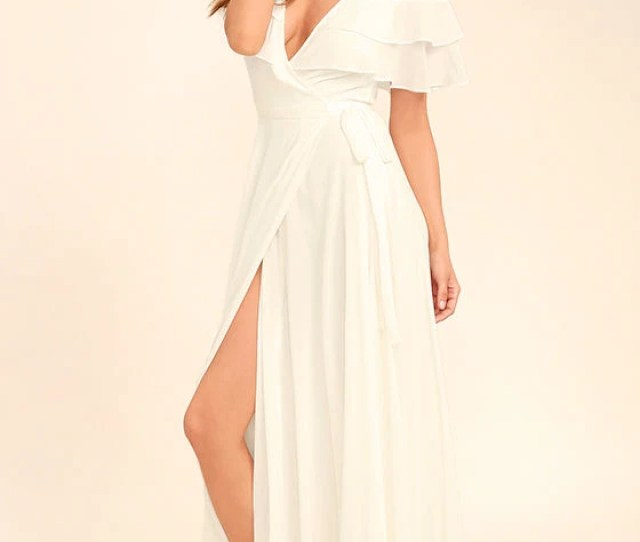 Wonderful Day White Wrap Maxi Dress