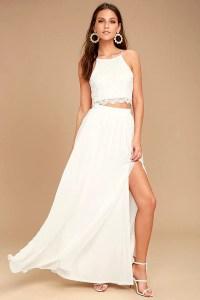 Sexy White Dress - Lace Dress - Two-Piece Dress - Maxi Dress