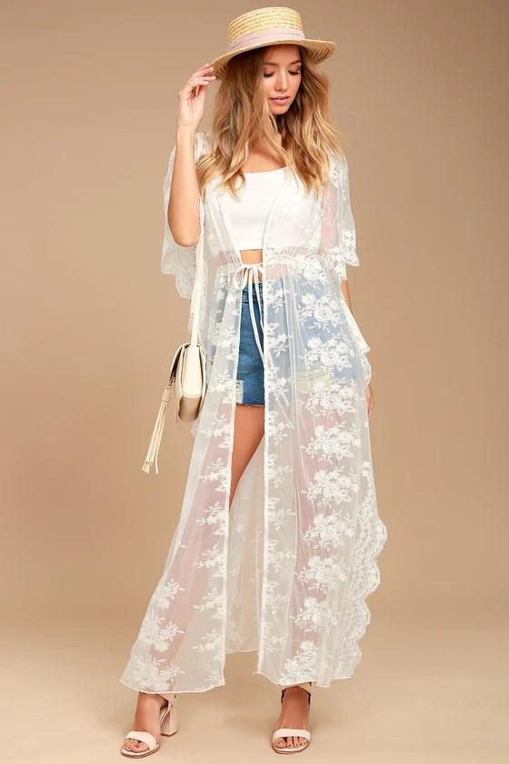 Stunning White Kimono Top Lace Kimono Top Long Kimono Top