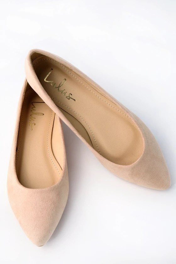 Holly Light Nude Suede Flats