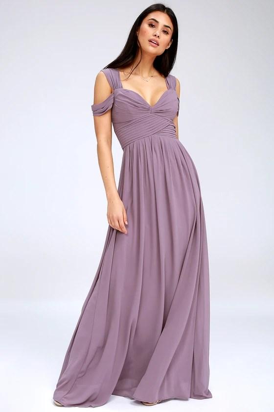 Lovely Dusty Purple Dress Maxi Dress Bridesmaid Dress