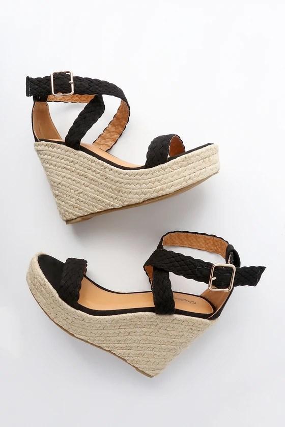 Cute Espadrille Wedges Black Wedges Wedge Sandals