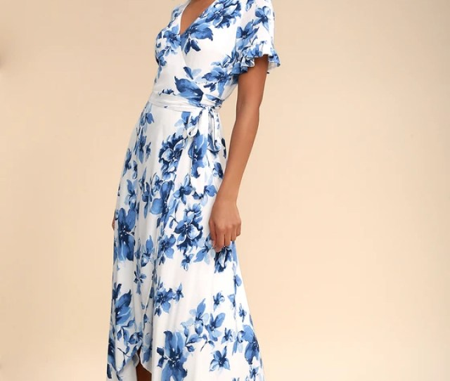 Floral Of The Story Blue And White Floral Print Wrap Maxi Dress
