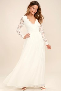 White Dress - Maxi Dress - Lace Dress - Long Sleeve Dress