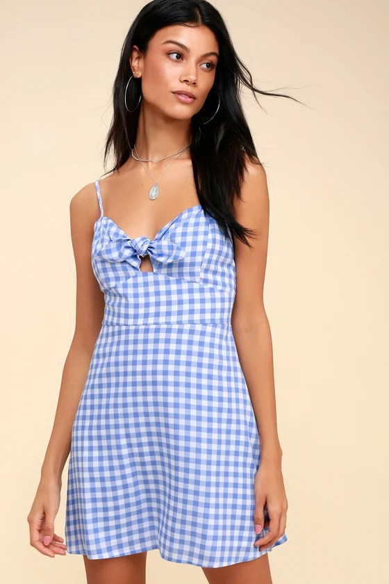 St. Helena Blue and White Gingham Tie-Front Dress 1
