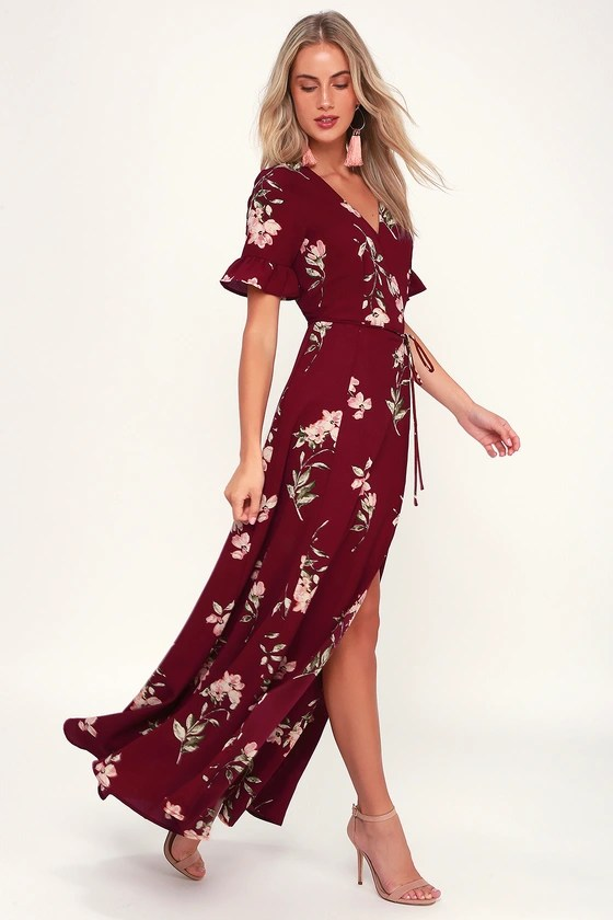 Burgandy Wrap Dress