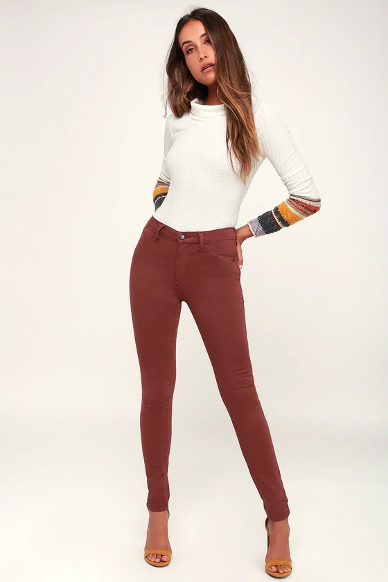 LONG AND LEAN HIGH-WAISTED WASHED WINE RED DENIM JEGGINGS