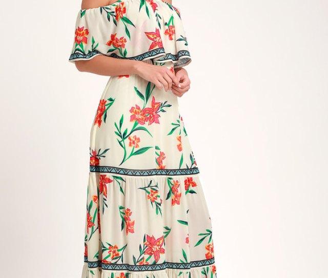 Cancun Cutie Ivory Floral Print Off The Shoulder Maxi Dress