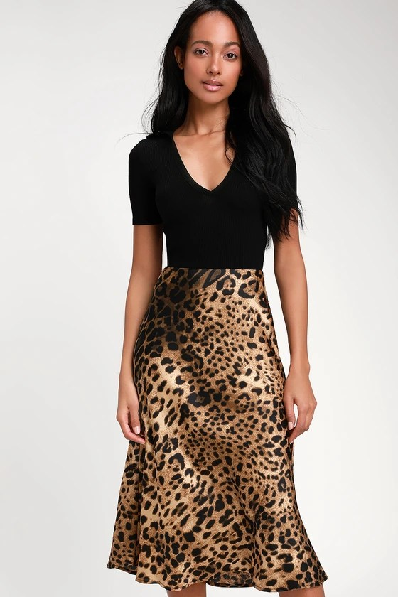 Wild Wonder Brown Leopard Print Satin Midi Skirt