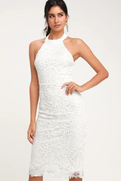 Lucky in Lace White Lace Halter Bodycon Midi Dress