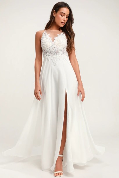 Moonlight Lover White Beaded Maxi Dress