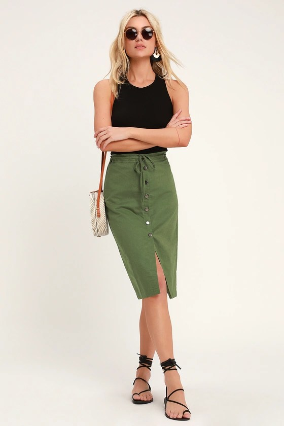 Sweet Escape Olive Green Button Front Midi Skirt