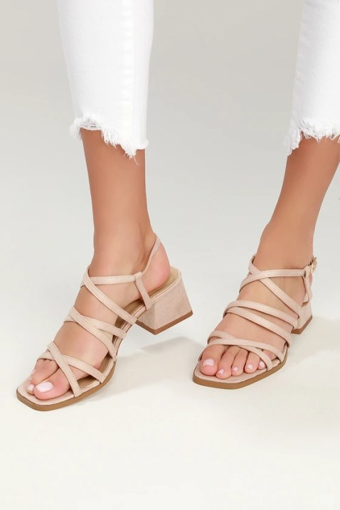 Vivi Nude Suede Strappy High Heel Sandals
