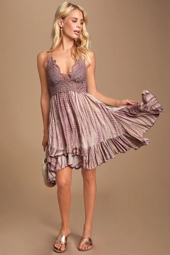 Adella Slip Dusty Purple Tie-Dye Lace Dress - Lulus