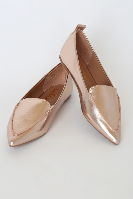 Lulus Emmy Rose Gold Metallic Pointed Loafers, Winter wedding shoes