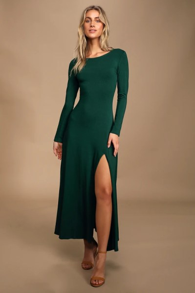 Swept Away Forest Green Long Sleeve Maxi Dress
