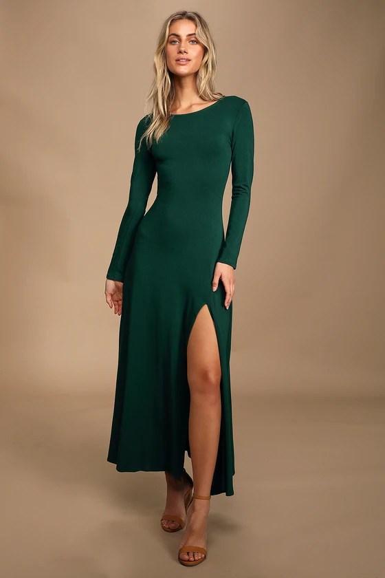 Lulus Swept Away Green Long Sleeve Maxi Dress