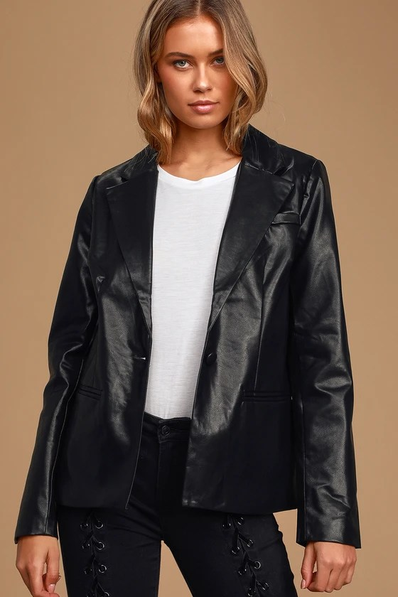 Making Power Moves Black Vegan Leather Blazer