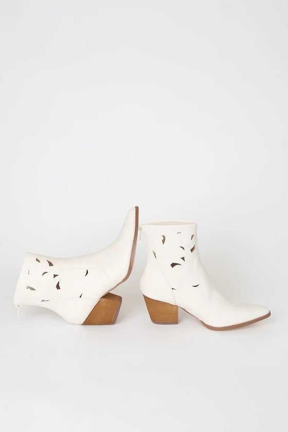 The Coconuts by Matisse Acacia White Floral Embossed Cutout Pointed-Toe Ankle Booties, Lulus, Winter Wedding boots