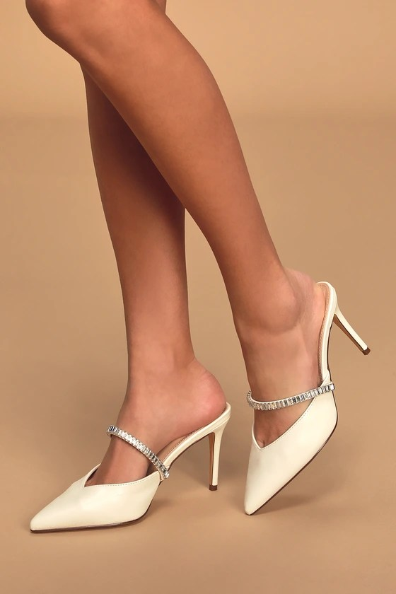 Winter Wedding shoes, Lulus Frankee White Pointed-Toe Rhinestone Mules
