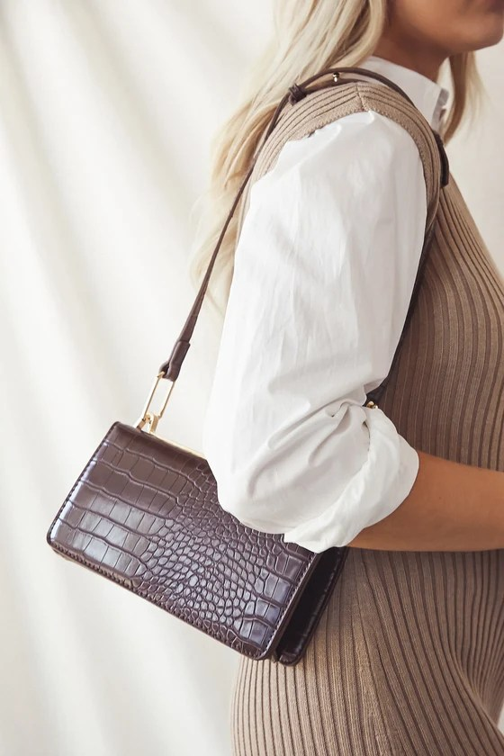 Brie Chocolate Brown Crocodile-Embossed Handbag