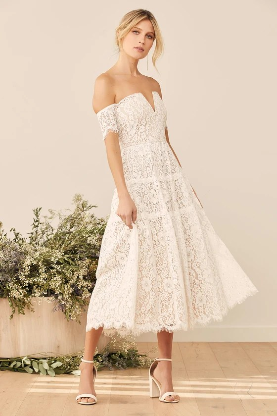 Absolutely Stunning White Lace Off-the-Shoulder Midi Dress