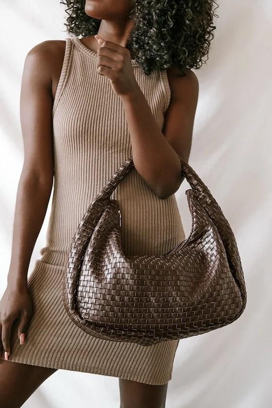 Forever Stylish Chocolate Brown Woven Handbag
