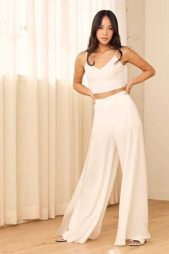 Out Tonight White Two-Piece Jumpsuit