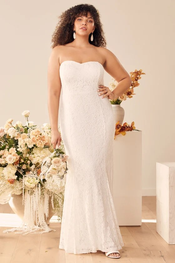 Always Be There White Lace Strapless Mermaid Maxi Dress